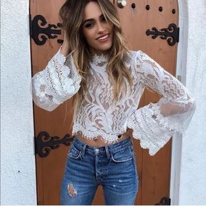 Tops - 'Let's Brunch' Boho Lace Bell Sleeve Crop Top